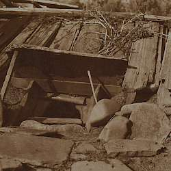 Entrance to a Yurok sweat-house (1923)