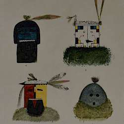 Native drawings of Santo Domimingo masks  ()